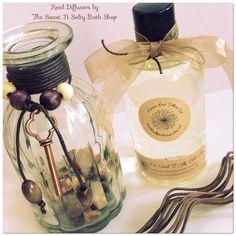 Vanilla Sandalwood Scented Reed Diffuser by SweetNSaltyBathShop