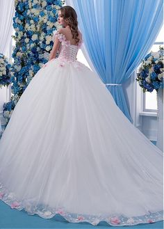 Magbridal Fabulous Tulle Sheer Jewel Neckline Ball Gown Wedding Dress With Lace Appliques & Flowers & Beadings Country Wedding Dresses, Princess Wedding Dresses, Elegant Wedding Dress, Cheap Wedding Dress, Gown Wedding, Bridal Gowns, Poofy Prom Dresses, Quinceanera Dresses, Pretty Dresses