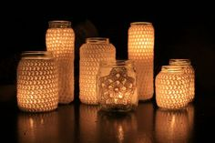 Crochet over jars and then put little votives in them! How cute! can use any jar too!
