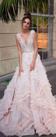 illusion sweetheart neckline sleeveless blush ruffled a line wedding gown chapel train #weddinggown #weddingdresses #wedding #weddings #bridedress #weddinggowns
