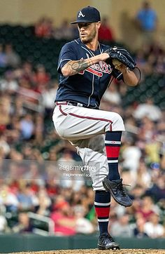 Shane Greene of the Atlanta Braves pitches against the Minnesota Twins on August 6 2019 at the Target Field in Minneapolis Minnesota. The Twins defeated the Braves 127. Minneapolis Minnesota, Minnesota Twins, Shane Greene, Atlanta Braves, Pitch, Most Beautiful Pictures, Target, Baseball Cards