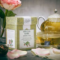 Bettys Special Rare Green Tea is a blend of the famous Chinese Mao Feng and a special tea from the Nandi Hills in western Kenya, finished with a scattering of beautiful pink rose petals for a sweet floral note!