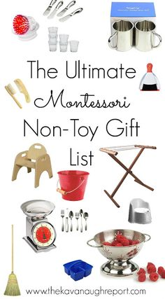 The Ultimate Montessori Non-Toy Gift Guide. Non-toy gift ideas for babies, toddlers and preschoolers. Practical and fun gift ideas!
