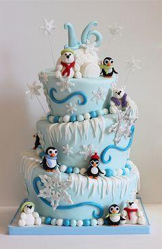 Topsy Turvey Polar Bear & Penguin Sweet 16 Cake