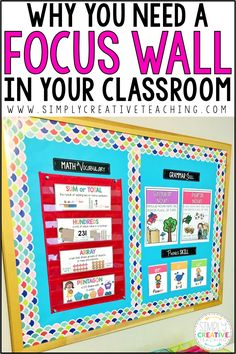 Learn why having a classroom focus wall is the perfect student reference display. Teachers can design a math, writing, or Ela focus wall bulletin boar. First Grade Classroom, 3rd Grade Math, Kindergarten Classroom, Montessori Elementary, Kindergarten Focus Walls, Kindergarten Calendar, Teaching Second Grade, Third Grade Reading, Classroom Teacher