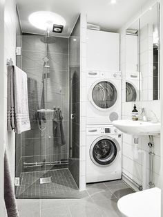 123 Interesting And Detailed Tiny House Bathroom Shower Design Ideas Laundry Bathroom Combo, Tiny House Bathroom, Laundry Room Storage, Downstairs Bathroom, Bathroom Layout, Small Bathroom, Bathroom Ideas, Bathroom Showers, Tiny House Shower