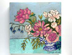 Modern floral still life painting wall art    by jenniferallevato