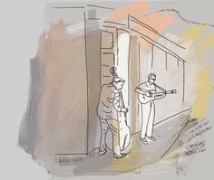 The #street # Musicians #urban #sketch  #illustration by ilana Graf illustrator #music #street #musician
