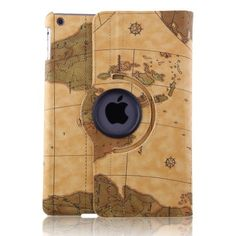 ELEOPTION Auto Sleep/Wake Function 360 Degree Rotating Smart Case Cover for iPad Air / iPad 5 With Free Stylus (Ornage EarthMap) ** Click image to review more details.
