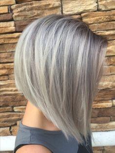 Gray hair silver hair bob @hairlifebyemily