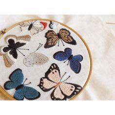 たまに蝶々が刺したくなります。#刺繍 #embroidery