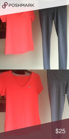 BOTH ITEMS INCLUDED! Hard to get true color the shirt is like neon pink... Both size medium but would fit a small just fine as well!! Nike Tops Tees - Short Sleeve