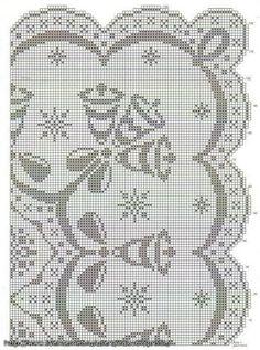 Stupendo copri-tavolo per le feste. E' realizzato all'uncinetto a filet con un bel motivo di campane e fiochi di neve.  fonte:http://uncinettodoro.bl