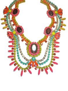 One of a Kind Hand painted Vintage Rhinestone Necklace