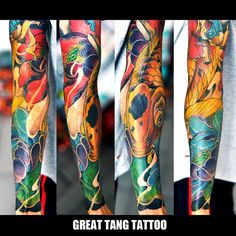 koi fish tattoo, lotus tattoo by Meng Xiangwei @greattangtattoo http://facebook.com/greattangtattoo