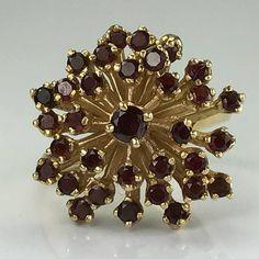 Vintage Garnet Cluster Ring. 14k Yellow Gold. Unique