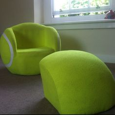 Nice little tennis ball sofa chair to plan all those match strategies out. #tennisplanet.com