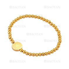 pulsera de bolitas con letra A de dorado en acero-SSBTG1094299