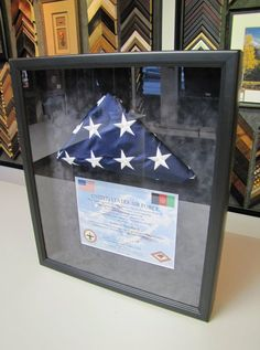 Custom Framed American Flag. Framed American Flag, Military Memorabilia, Framed Jersey, Blue Flag, Display Ideas, Independence Day, Shadow Box, Custom Framing, Flags