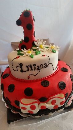 Lady Bug Themed Cake. Birthday Cake. Baby Cake. 1st Birthday Cake