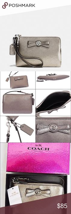 """NWT Coach gorgeous metallic colored wristlet NWT Coach gorgeous metallic colored wristlet!! Includes beautiful glitter gift box as well!! Measures 6.5"""" in length & 4"""" in height Coach Bags"""