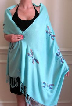 Dragon fly spring shawls Scarves hand crafted per your choice of shawl color and design color no extra charge. Very unique evening shawls!