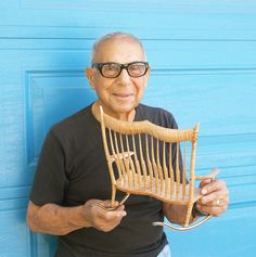 Sam Maloof with Miniature Rocker (date unknown). Image courtesy of Beverly Maloof. Fine Woodworking, Woodworking Projects, Sam Maloof, Carpentry And Joinery, Pick A Seat, Large Frames, Cabinet Making, Rocking Chairs, Interior Trim