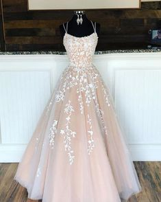 Spaghetti Straps Floor Length Prom Dress With Appliques, Long Evening Dress Lace. - - Spaghetti Straps Floor Length Prom Dress With Appliques, Long Evening Dress Lace Up Back Source by Pretty Prom Dresses, Lace Evening Dresses, Prom Party Dresses, Party Gowns, Elegant Dresses, Sexy Dresses, Dress Prom, Summer Dresses, Straps Prom Dresses