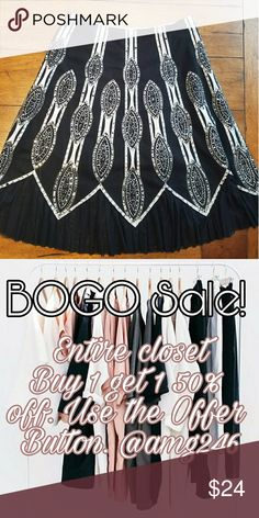 """BOGO Sale! Vanity Collection Skirt Black Sequin skirt with tulle at bottom hem by Vanity Collection. Size 12. 34"""" waist, 37"""" length. 52% cotyon 46% polyester 2% spandex. Missing a few sequins, not noticable. Otherwise flawless. I'm a top rated suggested user and love to give great deals. If you have any questions about my items don't hesitate to ask. Xoxo Ansley Vanity Collection Skirts"""