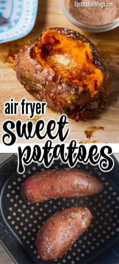 Baking sweet potatoes in an air fryer makes a delicious and easy side dish. The sweet potatoes are tender and fluffy inside and crispy outside. These sweet potatoes are nutritious and an easy to make side dish for your next family dinner. Air Fryer Recipes Low Carb, Air Fry Recipes, Air Fryer Dinner Recipes, Cooking Recipes, Healthy Recipes, Cooking Food, Healthy Meals, Beef Recipes, Easy Recipes