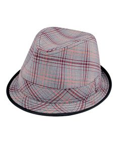 Take a look at this Gray & Red Plaid Fedora on zulily today!