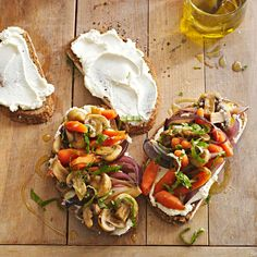 To make these mouthwatering Skillet Vegetables on Cheese Toasts into an appetizer, swap the bread slices for thin cuts of baguette. Pile high with seasonal veggies, and add silky texture to the toothsome toasts with creamy goat cheese.