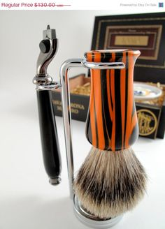 Tiger striped Shaving Brush by Beaver Wood Wright Showing at Handmade Arcade | Pittsburgh, PA (Dec. 8) | handmadearcade.com