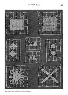 Le Filet Brodé [Filet Lace], P.-Verness, M. Appleton's Encyclopedia, Vol. Needle Tatting, Needle Lace, Bobbin Lace, Needle And Thread, Lace Patterns, Embroidery Patterns, Blackwork, Art Tribal, Tambour Embroidery