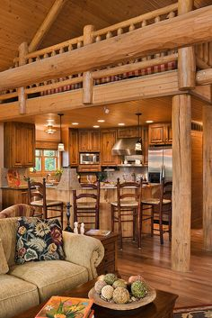 Small cabin homes with lofts log cabin loft and kitchen for Small log cabin kitchens