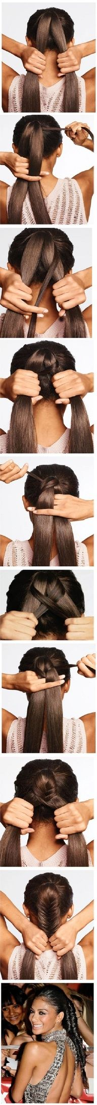 Good visual tutorial of a fishtail braid on a pony - even thin hair can manage this.