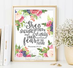 Nursery Bible verse print decor She is clothed in strength and dignity Proverbs 31 25 Scripture nursery Christian wall art decor ID3-2 by LittleEmmasFlowers on Etsy https://www.etsy.com/listing/230346334/nursery-bible-verse-print-decor-she-is