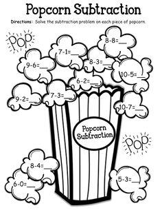// Fun to do with real popcorn! First Grade Classroom, 1st Grade Math, Math Classroom, Math For Kids, Fun Math, Math Resources, Math Activities, Kindergarten Workbooks, Math Subtraction