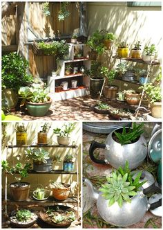 Cozy garden corner; like the found objects for planters