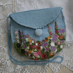Embroidered Felted and Knitted Bag  Pink and by Lynwoodcrafts, £40.00