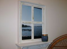 "Shabby Chic Faux Window Frame, photo taken under Naval Academy Bridge in Annapolis, MD  20"" x 26"" with a 4"" shelf and 2 wood pegs.  Windows have 2 sawtooth hangers on back, ready to hang.   Have a photo you'd like in our frames e-mail it to me.   $64.99"
