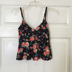 Floral peplum Bnwt. Not from listed brand For Love and Lemons Tops Tank Tops