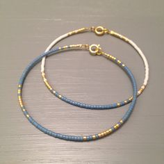 Minimal Blue gold Bangle Bracelet Simple jewelry Every day Bracelet Skinny Bracelet Simple Bracelet This listing is for one beaded gold fill