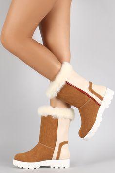 Faux Fur Round Toe Lug Sole Mid Calf Boots   UrbanOG