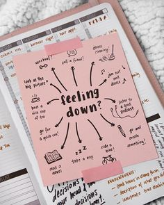 Feeling Down? 🤔 Great Tagged with aesthetics bike boullet journal bujo create dance motivation paper note picture planner read runnig tea we heart it workout Planner Bullet Journal, My Journal, Bullet Journal Inspiration, Journal Pages, Bullet Journals, Journal List, Fitness Journal, Happy Journal, Bullet Journal Anxiety