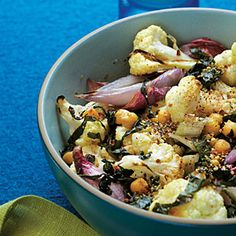 Roasted Cauliflower and Shallots with Chard and Dukkah Recipe