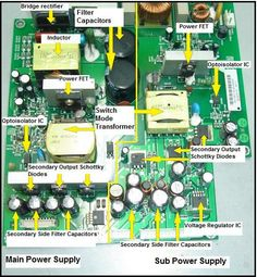 How to repair SMPS like an expert. Step by step guide on how to repairing any type of SMPS switch mode power supply repair Simple Electronics, Electronics Basics, Electronics Components, Electronics Projects, Electrical Components, Electronic Circuit Design, Electronic Engineering, Electrical Engineering, Switched Mode Power Supply