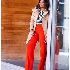 Shop Your Screenshots™ with LIKEtoKNOW.it, a shopping discovery app that allows you to instantly shop your favorite influencer pics across social media and the mobile web. Orange Pants Outfit, Everyday Fashion, Color Pop, Duster Coat, Slim, Blazer, How To Wear, Jackets, Outfits