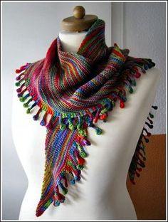 Schal Baumwolle Tuch mit Quasten bunt flieder grau Herbstfarben Sarah /& Sally