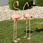 Large Outdoor Animal Sculpture – Flamingo Outdoor Garden Sculpture Set